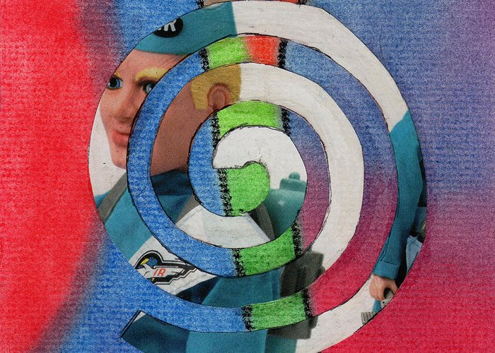 Collage Art Greeting Card featuring the mixed media Toy Doll Spiral by Christine Perry