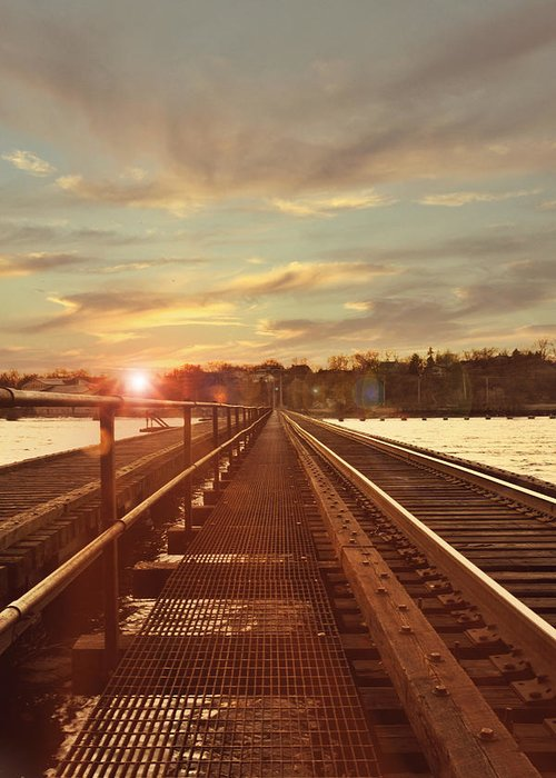 Railroad Greeting Card featuring the photograph Tracks To Greatness by Joel Witmeyer