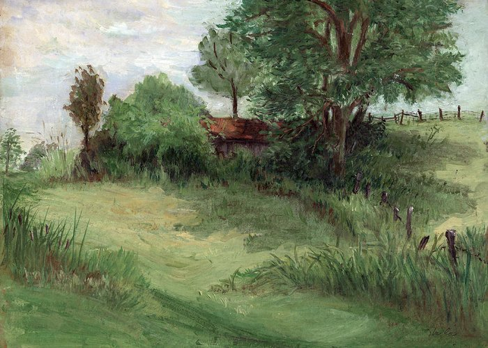 Landscape Greeting Card featuring the painting Tractor Shed by Ethel Vrana