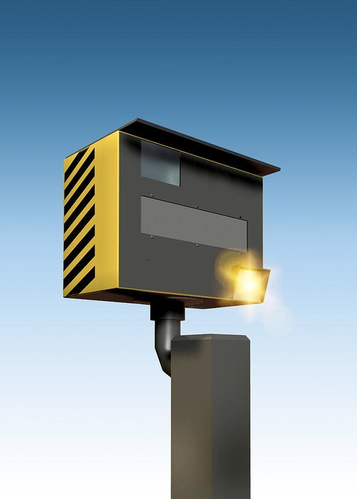Machine Greeting Card featuring the photograph Traffic Speed Camera by Victor Habbick Visions