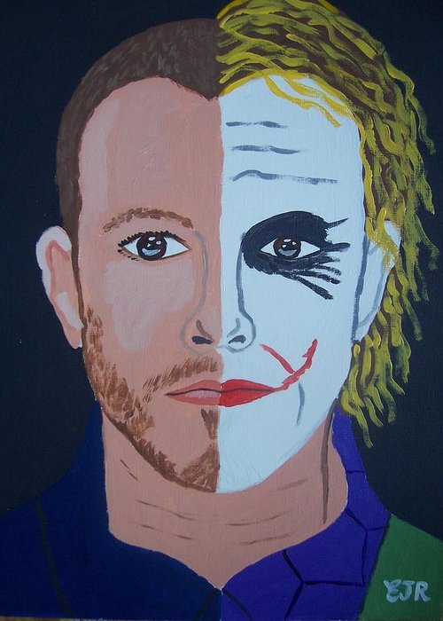 Heath Ledger Greeting Card featuring the painting Tragic Jokerman by Eamon Reilly