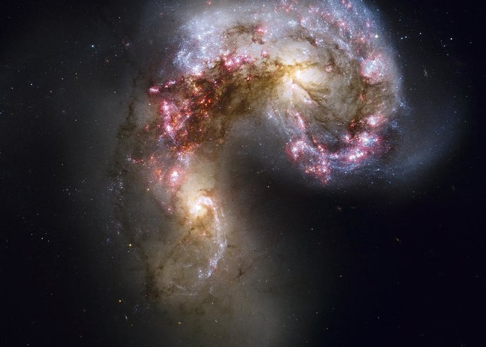 Galaxy Greeting Card featuring the photograph Trailing Streamers Of Gas And Stars by ESA and nASA