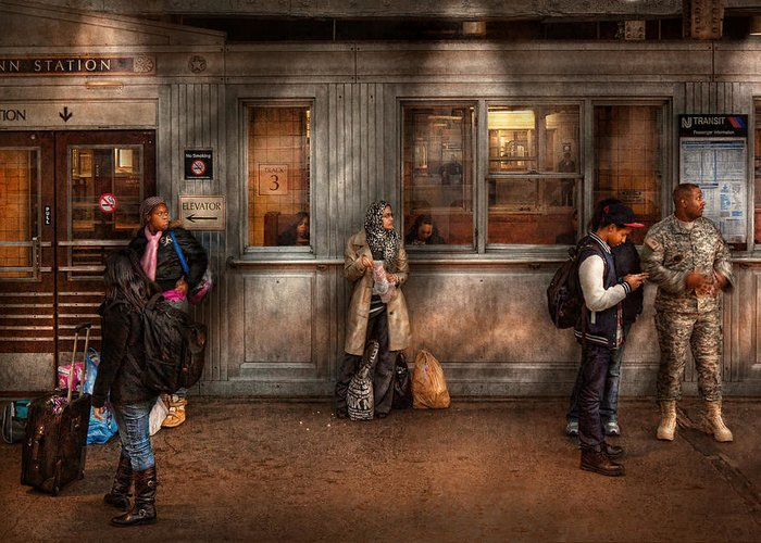 Train Greeting Card featuring the photograph Train - Station - Waiting For The Next Train by Mike Savad