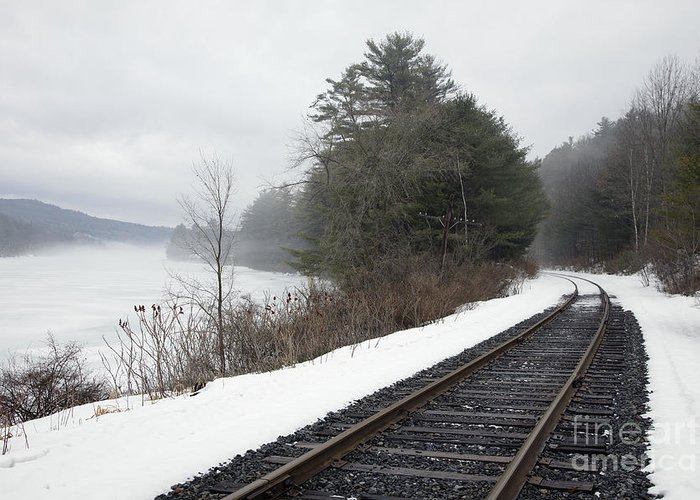 Abandoned Greeting Card featuring the photograph Train Tracks In Snowy Landscape by Roberto Westbrook