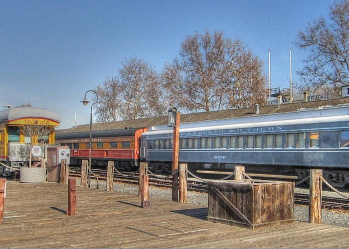 Old Town Sacramento Greeting Card featuring the photograph Trains by Barry Jones