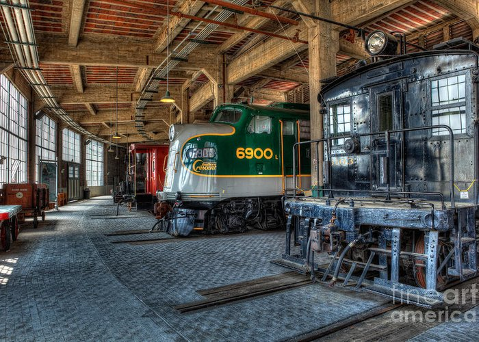 Trains Greeting Card featuring the photograph Trains - Engines Railcars Caboose In The Roundhouse by Dan Carmichael