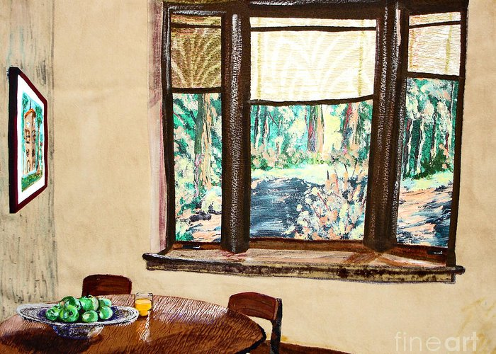 Interior Greeting Card featuring the mixed media Tranquility 5 Cabin In The Woods by Drina Fried
