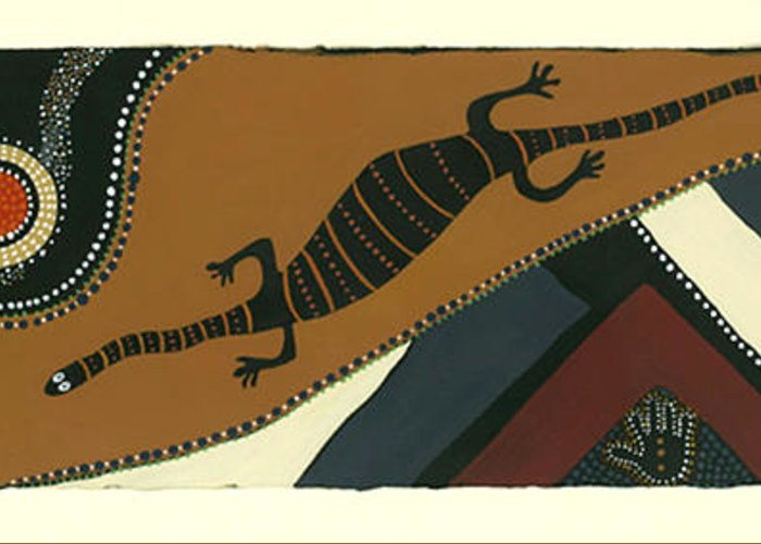 Australian Goanna Greeting Card featuring the mixed media Traveling Goanna by Pat Saunders-White