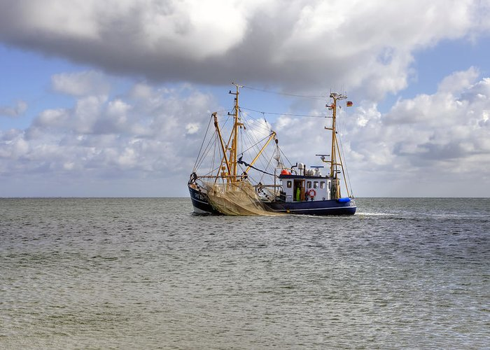 Fishing Boat Greeting Card featuring the photograph trawler - Sylt by Joana Kruse