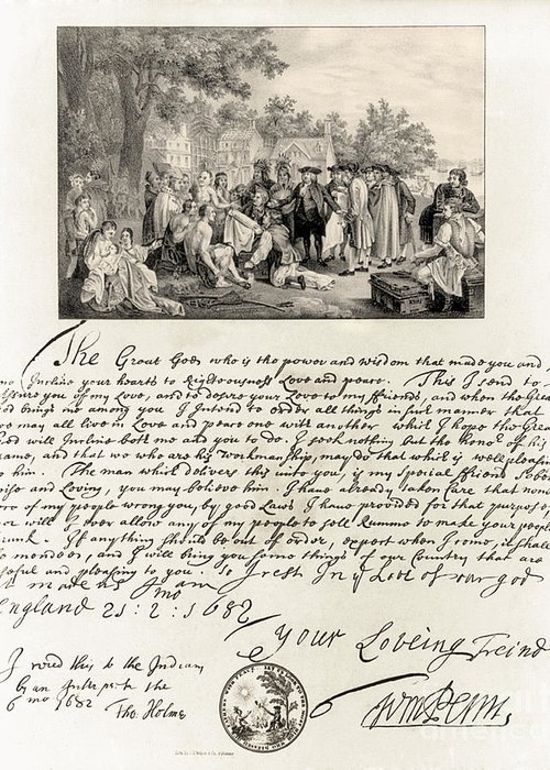 History Greeting Card featuring the photograph Treaty Between William Penn by Photo Researchers
