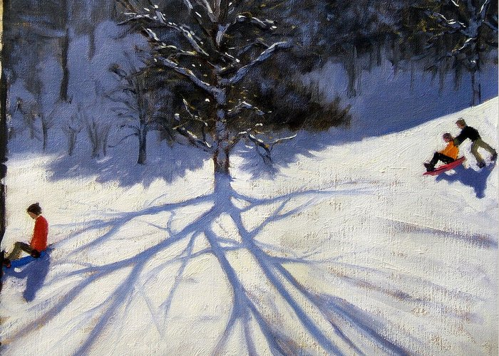 Sledge Greeting Card featuring the painting Tree And Two Tobogganers by Andrew Macara