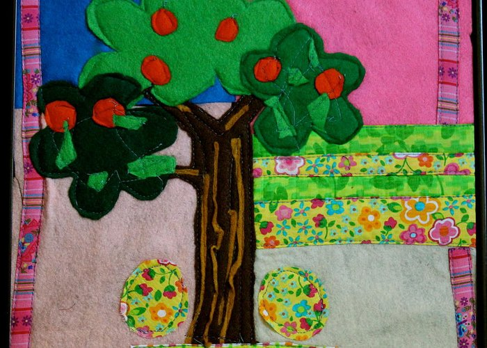 Fruit Greeting Card featuring the tapestry - textile Tree by Ghazel Rashid