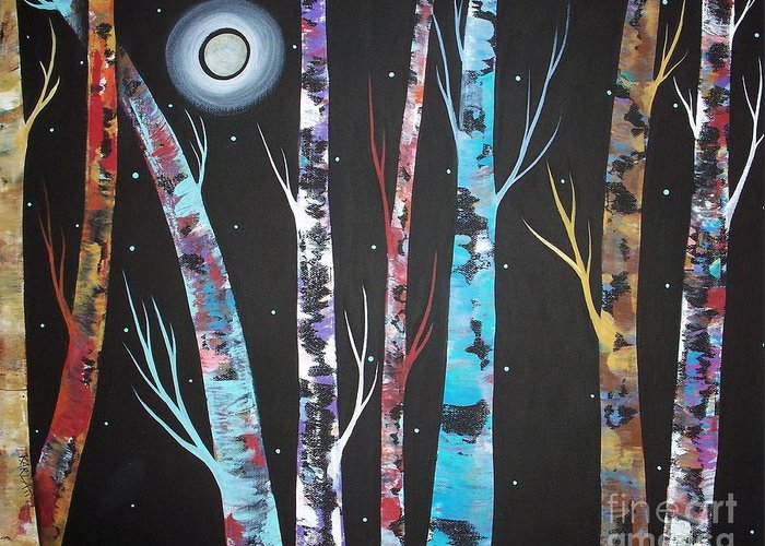Trees On Black Greeting Card featuring the painting Trees And Moon by Karla Gerard