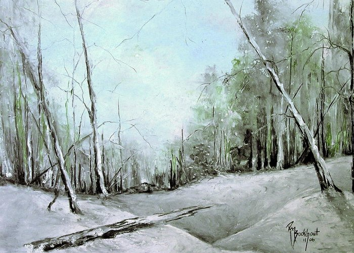 Winter Greeting Card featuring the drawing Trees In Winter #2 by Robin Miller-Bookhout