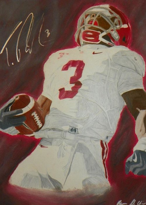 Trent Richardson Greeting Card featuring the drawing Trent Richardson Alabama Crimson Tide by Ryne St Clair