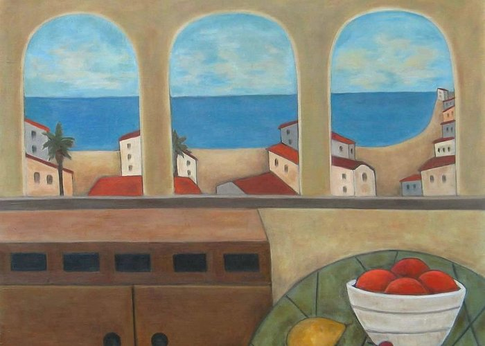 Landscape Greeting Card featuring the painting Tres Ventanas by Trish Toro