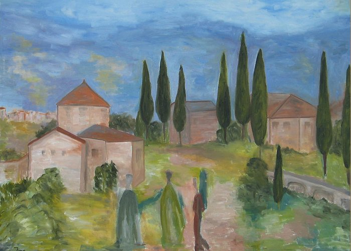 Landscape Greeting Card featuring the painting Tres Visitas En Segovia by Trish Toro