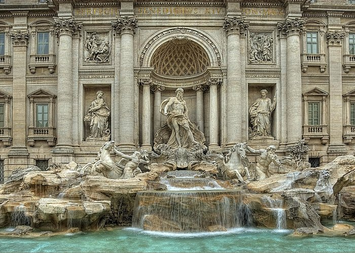 Trevi Fountain Greeting Card featuring the photograph Trevi Fountain by Donna Lee Blais