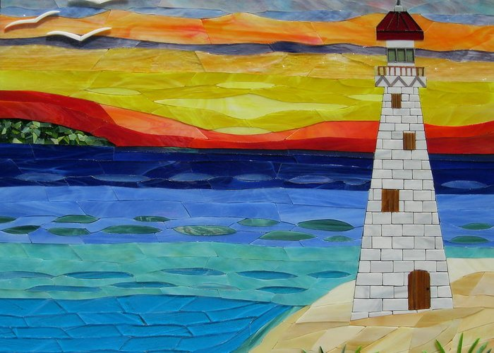 Lighthouse Greeting Card featuring the glass art Trinity Lighthouse On The Bay Of Paradise by Charles McDonell