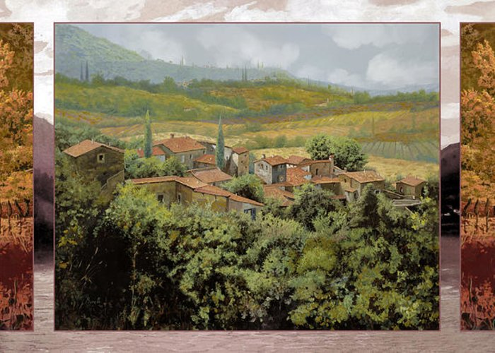 Landscape Greeting Card featuring the painting Trittico-il Prossimo Autunno by Guido Borelli