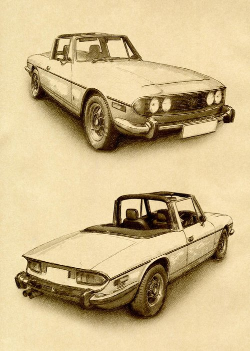 Triumph Stag Greeting Card featuring the digital art Triumph Stag by Michael Tompsett