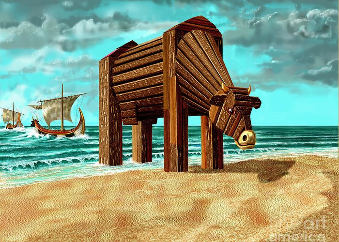 Beach Greeting Card featuring the digital art Trojan Cow by Russell Kightley