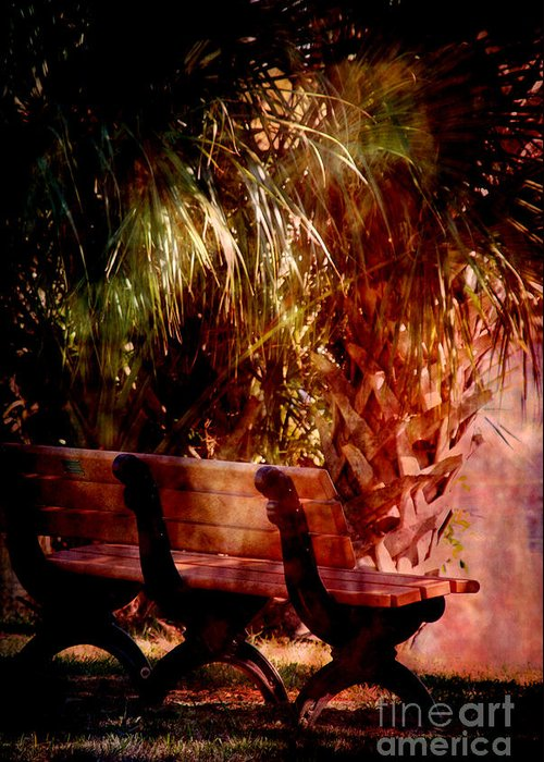 Bench Greeting Card featuring the photograph Tropical Bench by Susanne Van Hulst