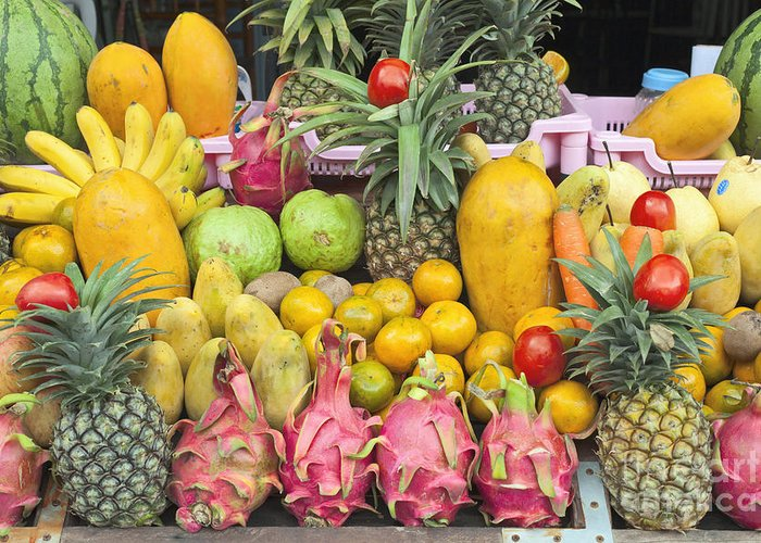 Attraction Greeting Card featuring the photograph Tropical Fruit Display by Roberto Morgenthaler