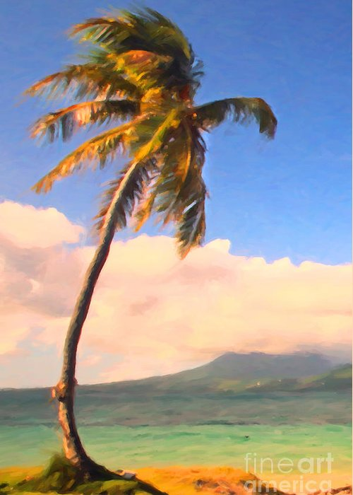Tropical Island Greeting Card featuring the photograph Tropical Island 2 - Painterly by Wingsdomain Art and Photography