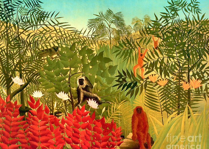 U.s.pd: Tiger Paintings Greeting Card featuring the painting Tropical Jungle By Henri Rousseau by Pg Reproductions