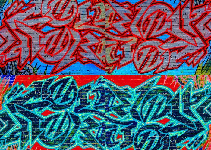 Street Art Greeting Card featuring the digital art Trouble Tapestry 1 by Randall Weidner