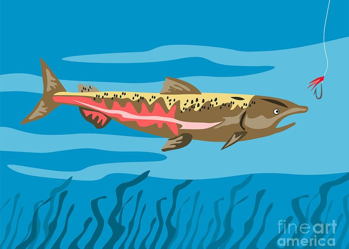 Trout Greeting Card featuring the digital art Trout Fish Retro by Aloysius Patrimonio