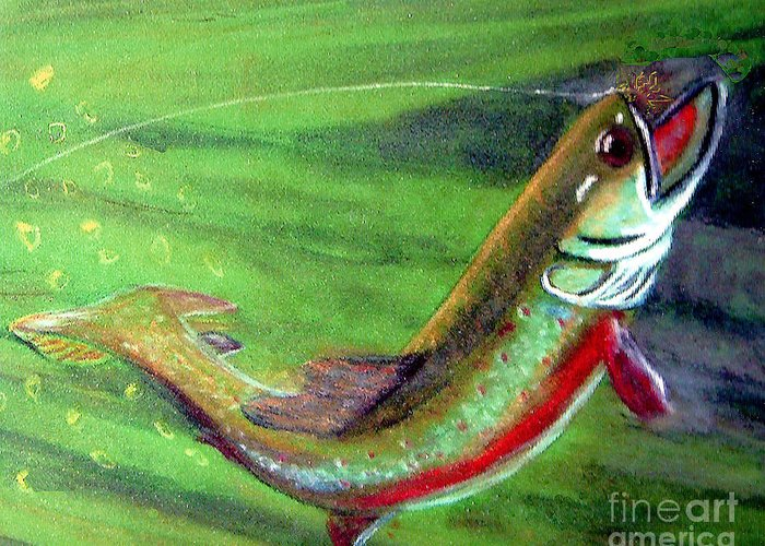 Trout Greeting Card featuring the photograph Trout On - Pastel Painting by Merton Allen