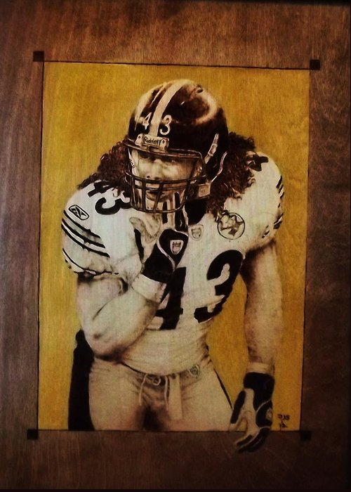 Pyrography Greeting Card featuring the pyrography Troy Polamalu by Freddy Smith