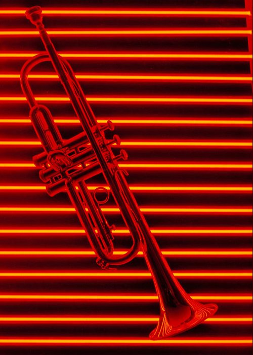 Red Neon Trumpet Music Sound Lines Horn Greeting Card featuring the photograph Trumpet And Red Neon by Garry Gay