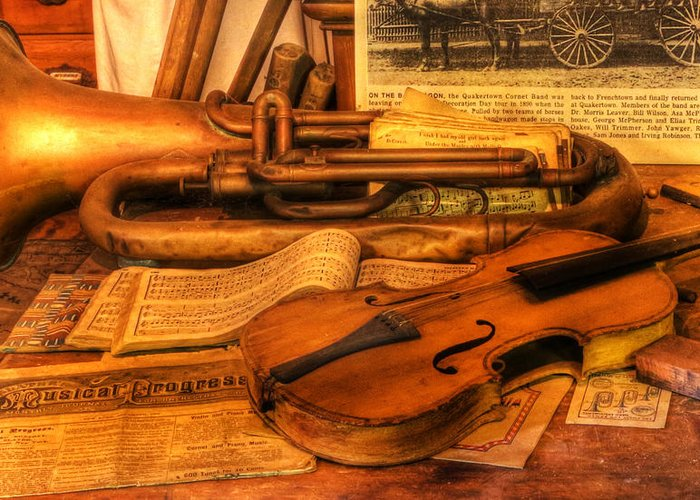 Lee Dos Santos Greeting Card featuring the photograph Trumpet And Stradivarius At Rest - Violin - Nostalgia - Vintage - Music -instruments by Lee Dos Santos