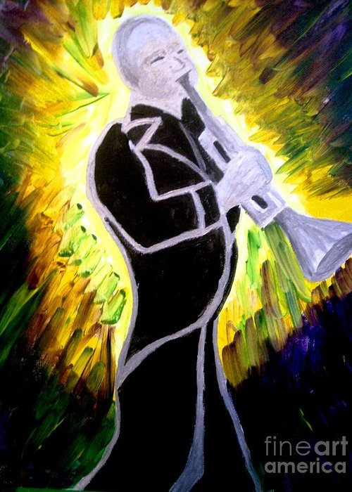 Music Greeting Card featuring the painting Trumpet Fever by Diane Stockard