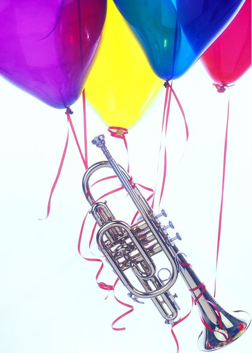 Trumpet Greeting Card featuring the photograph Trumpet Lifted By Balloons by Garry Gay