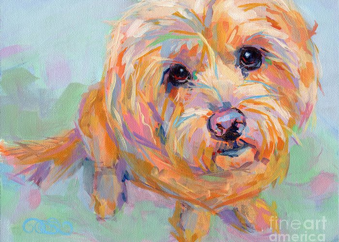 Pet Portrait Greeting Card featuring the painting Tucker by Kimberly Santini