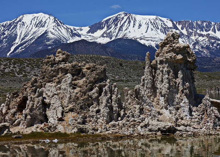 Tufa Greeting Card featuring the photograph Tufa At Mono Lake California by Garry Gay