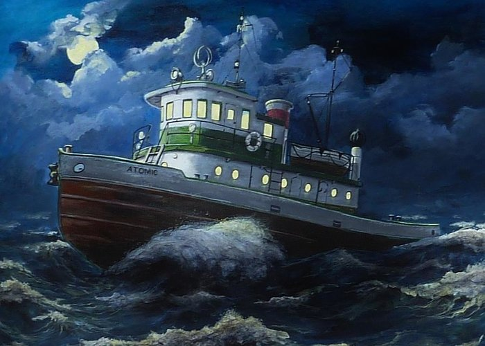 Lake Paintings Greeting Card featuring the painting Tug Boat On Rough Water by Virginia Sonntag