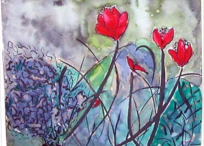 Tulips Greeting Card featuring the painting Tulips And Hydrangea by Margaret Ann Johnson Wilmot