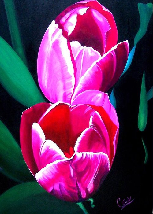 Tulips Greeting Card featuring the painting Tulips by Karen Casciani