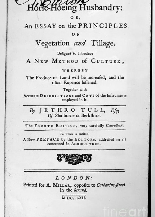 1762 Greeting Card featuring the photograph Tull: Title Page, 1762 by Granger