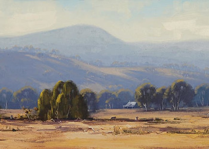 Central Tablelands Greeting Card featuring the painting Tumut Landscape by Graham Gercken