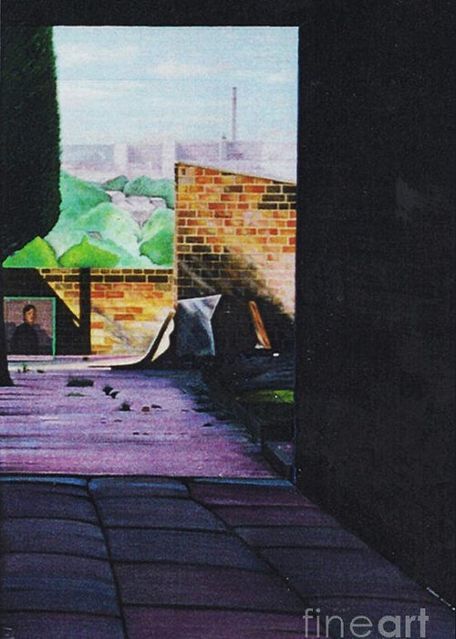 English Northern Industrial Landscape Greeting Card featuring the painting Tunnel Vision 4 by Leslie Bell