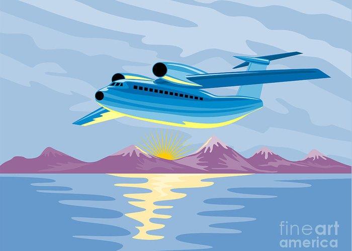 Commercial Greeting Card featuring the digital art Turbo Jet Plane Retro by Aloysius Patrimonio