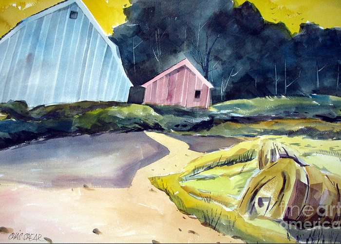 Landscape Greeting Card featuring the painting Turn In The Road by Charlie Spear
