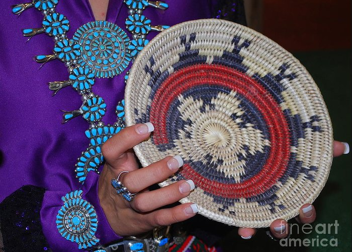 Turquoise Greeting Card featuring the photograph Turquoise And Navajo Wedding Basket by Anne Gordon