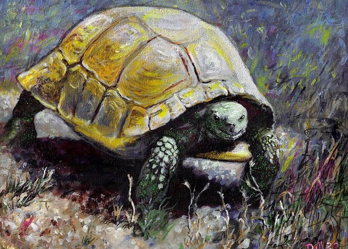 Turtle Nature Desert Green Wildlife Animal Shell Tortoise Greeting Card featuring the painting Turtle by Rust Dill